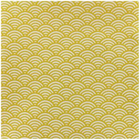 Tissu enduit coton Sushis - jaune x 10cm
