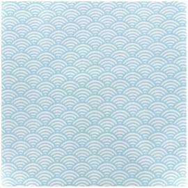 Tissu enduit coton Sushis - ciel x 10cm