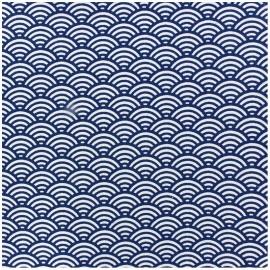 Tissu enduit coton Sushis - indigo x 10cm