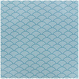 Coated cotton fabric Sushis - teal x 10cm