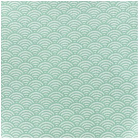 Coated cotton fabric Sushis - green x 10cm