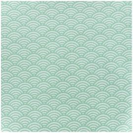 Tissu enduit coton Sushis - vert x 10cm
