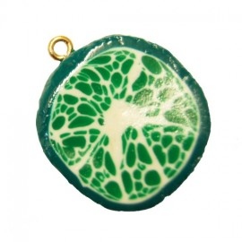 Fimo charm, slice of lime - lime