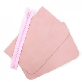 Big leather pocket kit - Rosa