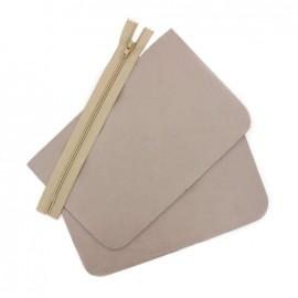 ♥ Big leather pocket kit - Fog ♥