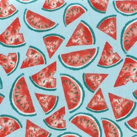 Tissu coton cretonne Pastèque - turquoise x 10cm
