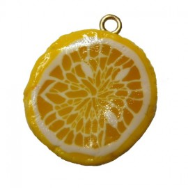 Fimo charm, slice of lemon - yellow