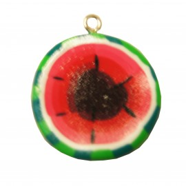 Fimo charm, watermelon - red/green