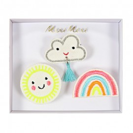 Embroidered brooches Meri Meri - weather faces