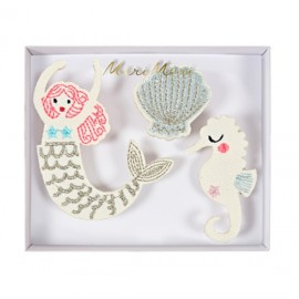 Embroidered brooches Meri Meri - mermaid