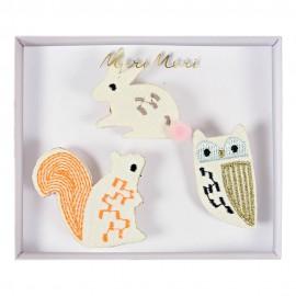 Embroidered brooches Meri Meri - forest animals