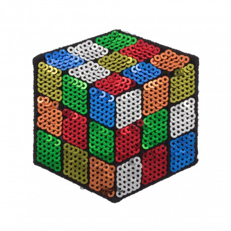 Sequined iron on patch - Rubik's cube