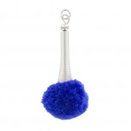 Pompon avec tige flexible - bleu