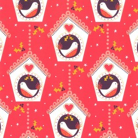 Dashwood cotton fabric Merry LIttle Christmas - Christmas bird x 10cm