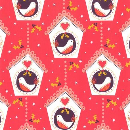 Dashwood cotton fabric Merry LIttle Christmas - Christmas bird x 10cm