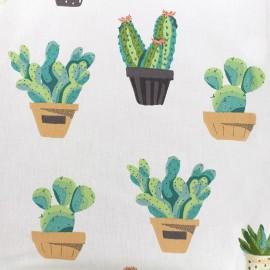 Tissu coton cretonne Cactus - ivoire/vert x 10cm