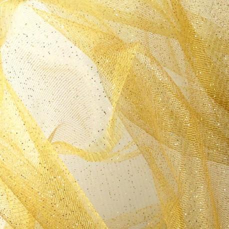 Tulle souple pailleté -  or clair x10cm