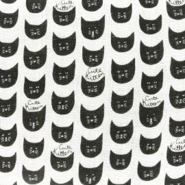 Kokka Echino cotton canvas fabric Trèfle Cute Kitten - ecru x 10cm