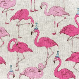 Kokka Echino cotton canvas fabric Flamingo - beige x 11cm