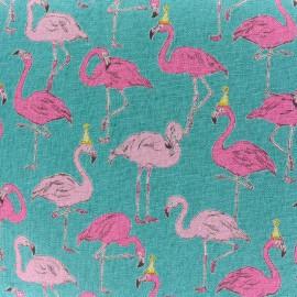 Tissu toile de coton Flamingo - turquoise x 11cm