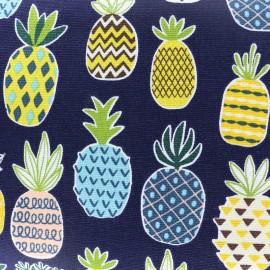 Tissu toile de coton Ananas - marine x 11cm