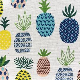 Tissu toile de coton Ananas - naturel x 30cm