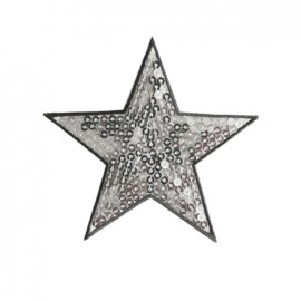 Embroidered sequined iron on patch Star - silver