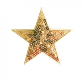 Embroidered sequined iron on patch Star - golden