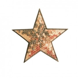 Embroidered sequined iron on patch Star - copper