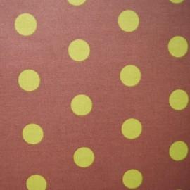 ♥ Coupon 40 cm X 110 cm ♥  Tissu enduit coton pois anis fond brun