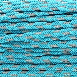 Galon tressé lurex Delicia - turquoise/argent x 1m