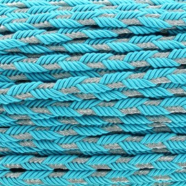 Lurex braided ribbon Delicia - turquoise/silver x 1m