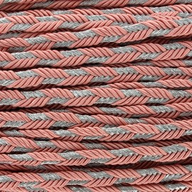 Lurex braided ribbon Delicia - pink/silver x 1m