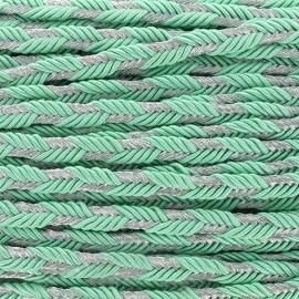 Galon tressé lurex Delicia - vert d'eau/argent x 1m