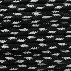 Galon tressé lurex Delicia - noir/argent x 1m