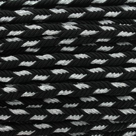 Lurex braided ribbon Delicia - black/silver x 1m