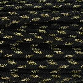 Galon tressé lurex Delicia - noir/doré x 1m