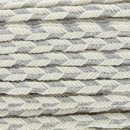 Lurex braided ribbon Delicia - ecru/silver x 1m