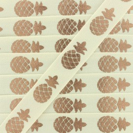 Grosgrain Ribbon Metallic Pineapple - cream/copper x 1m