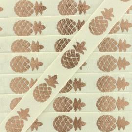 Ruban gros grain Metallic Pineapple - crème/cuivre x 1m