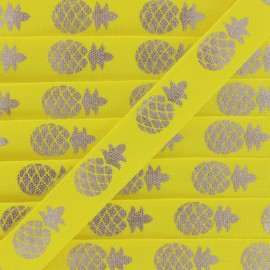 Grosgrain Ribbon Metallic Pineapple - yellow/silver x 1m