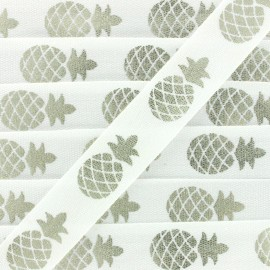 Ruban gros grain Metallic Pineapple - blanc/argent x 1m