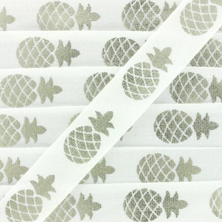 Grosgrain Ribbon Metallic Pineapple - white/silver x 1m
