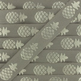 Grosgrain Ribbon Metallic Pineapple - grey/silver x 1m