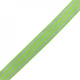 Lurex grosgrain ribbon Lina - green/silver x 1m