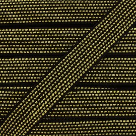 Lurex braided ribbon Chic - black/golden x 1m