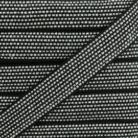 Lurex braided ribbon Chic - black/silver x 1m