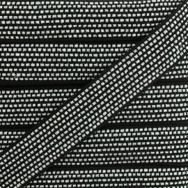 Lurex braided ribbon Chic - black/silver x 1m