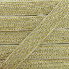 Lurex braided ribbon Chic - white/gold x 1m