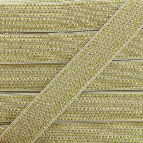Lurex braided ribbon Chic - white/gold x 1m
